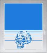 INDIGOS UG Sichtschutzfolie Glasdekorfolie Fensterfolie mit Motiv satiniert blickdicht - w927 Totenschädel / SKull / Totenkopf - individuelle Länge in 10 cm Schritten - Streifen