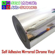 Self Adhesive Mirrored Chrome Vinyl Roll Of 1mtr Sticky Back Plastic Arts and Crafts for Cutter Plotters