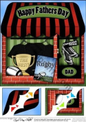 8 x 8 The Little Rugby Shop Fathers Day Topper by Carol Clarke