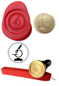Wax Stamp, MICROSCOPE Invitation Coin Seal and Red Wax Stick XWSC242-KIT
