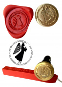 Wax Stamp, ANGEL Coin Seal and Red Wax Stick XWSC197-KIT