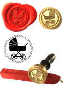 Wax Stamp, BABIES PRAM New Baby Boy Girl Coin Seal and Red Wax Stick XWSC192-KIT