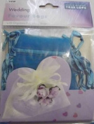 10 x Turquoise Wedding Favour Organza Bags. 100mm x 75mm.