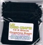 10 x Black Organza Bags - 10cm x 8cm - Weddings, Parties