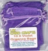 10 x Violet Organza Bags - 10cm x 8cm - Weddings, Parties