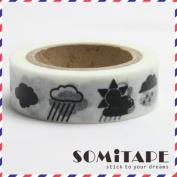 Weather Rain Clouds Washi Tape, Craft Decorative Tape