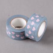 Pink Hearts On Blue Washi Tape, Craft Decorative Tape by SHOKK™