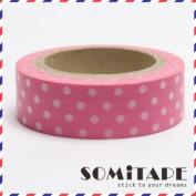 Light Pink With White Polkadot Washi Tape, Craft Decorative Tape