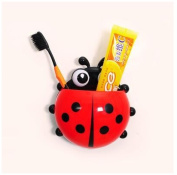 Ladybug Toothbrush Wall Suction Bathroom Sets Cartoon Sucker Toothbrush Holder Red Color