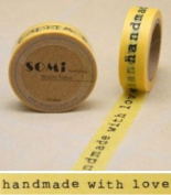 Paper Washi Tape Handmade with love yellow Design 10m x 1.5 cm