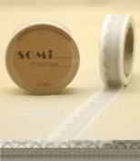 Paper Washi Tape White Grey lace Design 10m x 1.5 cm