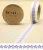 Paper Washi Tape Purple Flowers Design 10m x 1.5 cm