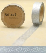Washi Tape White hearts on silver Design 10m x 1.5 cm