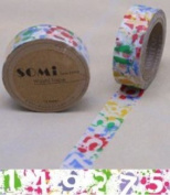 Washi Tape Colourful Numbers Design 10m x 1.5 cm