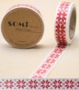 Washi Tape White Red Christmas Pattern Design 10m x 1.5 cm
