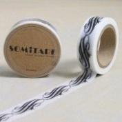 Washi Tape Small Black White Scroll pattern 10m x 1.5 cm