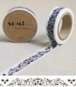 Washi Tape Black White Floral Small Scroll 10m x 1.5 cm