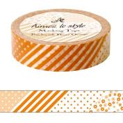 Flower patchwork Orange Aimez le style Japanese Washi Tape 15mm x 12 m