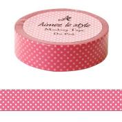 Pink white dots spots Aimez le style Japanese Washi Tape 15mm x 12 m