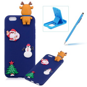 TPU Case for iPhone 6S Plus,Soft Rubber Cover for iPhone 6 Plus,Herzzer Ultra Slim Stylish 3D Christmas Santa Claus Deer Series Design Scratch Resistant Shock Absorbing Flexible Silicone Back Case - Dark Blue