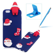 TPU Case for iPhone 6S Plus,Soft Rubber Cover for iPhone 6 Plus,Herzzer Ultra Slim Stylish 3D Christmas Santa Claus Series Design Scratch Resistant Shock Absorbing Flexible Silicone Back Case - Dark Blue