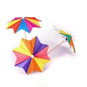 PriMI Approx.144Pcs of Eight-Square Paper Cocktail Drink Sticks Parasol Umbrella Picks