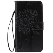 Huawei Mate S Case, Huawei Mate S Wallet Case, BONROY [Kickstand] Retro Flip Case, Elegant Vintage Pressed Tree Cat Butterfly Pattern Design Premium PU Leather [with Lanyard Strap/Rope] Stand Function Card Holder and ID Slot Slim Fit Protective Case Co ..