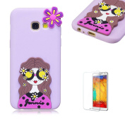 For Samsung A3(2017 Model)/A320 Soft Silicone Gel TPU Cover, Funyye Ultra Thin Slim Lightweight Matte Trendy Cute Candy Colour [Purple] Sweet Lovely Back Bumper Rubber Shockproof Non slip Protective Case for Samsung A3(2017 Model)/A320 - Pretty Girl
