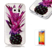 For Samsung Galaxy S6 Edge Sparkly Sequins soft TPU+IMD Case. Brilliant lovely Coloured Drawing Parttern Lightweight Ultra Slim Anti Scratch Transparent Soft Gel Silicone TPU Bumper Protective Case Cover Shell for Samsung Galaxy S6 Edge - Purple Pineapple