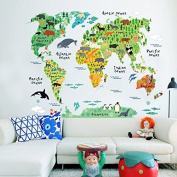 Wholesale The animal world Map Environmental protection material Wall sticker waterproof and free remove use for bedroom living room