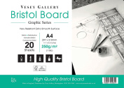2 x A4 Bristol Board Pads by Vesey Gallery. 40 Sheets of White Ultra Smooth 250gsm Board