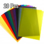 MAGIC SHOW 20Pcs Tinted Colour Plastic Film Sheet Transparent Gel Lighting Filter