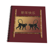 3dRose db_223536_1 Two Monkey Facing Happy New Year in Chinese Red Copper Black Drawing Book, 20cm x 20cm