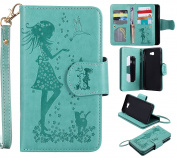 BONROY® Magnetic Flip Cover for Samsung Galaxy On7 (2016)/ J7 Prime,Woman and cat theme series Embossing Wallet Case with Hand Strap for Samsung Galaxy On7 (2016)/ J7 Prime, Premium PU Leather Folio Style Retro PU Leather Wallet Flip with Card Slots an ..