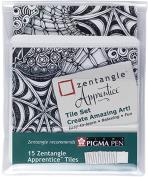 15 Original Zentangle Apprentice Tiles 15 Square White Tile