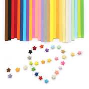 400 Sheets Coloured Folding Origami Stars Paper Package,Colour Random
