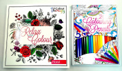 Adult Colouring Book - Anti Stress Colour Therapy Relaxing 60 Different Designs in each book