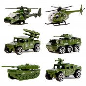 Military Vehicles,6 Pack Assorted Army Vehicles Models Car Toys,Original Colour Mini Army Toy Tank,Jeep,Panzer,Light Anti-Air Vehicle,Attack Helicopter,Scout Helicopter Playset for Kids Toddlers Boys
