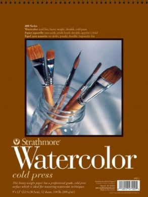 Strathmore - Watercolour Block 400 Series 15 Sheet Pad 33cm x 43cm 300Gsm Bound 4 sides, Cold Press. Intermediate Heavy Weight Paper, Popular with Water Colourists of all Levels. Popular for most water Colour Techniques