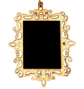 iTemer 10pcs Mini Wooden Blackboard Rectangle Golden Hollow Lace Chalkboard for Message Sign Board Decoration