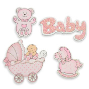 """CLUB GREEN """"Baby Girl Set"""" Wooden Sticker, Pink, 4 pcs in each pack"""