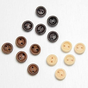 """CLUB GREEN """"Round Buttons"""" Wooden, Black, 9 mm, 15 pcs in each pack"""