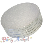"9"" ROUND Drum SILVER Cake BOARDS - PACK OF 5 12mm thick"