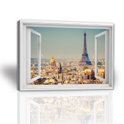 JHYS Canvas Hang Painting Eiffel Tower Landscape Window Style Pattern Wood Grain Decoration Mural 30*40cm