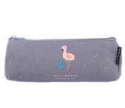 Cosanter Pencil Bag Pouch Case Canvas Cartoon Grey Flamingo Pattern Cosmetic Glasses Bag for Girls