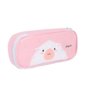 Cosanter Pencil Bag Holder Cute Goat Pattern Zipper Faux Leather Cosmetic Glasses Bag for Teen Girls
