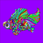 Fish 1 Colouring Stretched, 90 x 90 cm