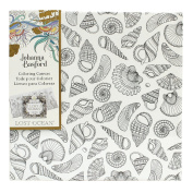 Johanna Basford Lost Ocean Colouring Canvas – Seashells -- 30cm x 30cm Colour Your Own Inky Quest Adult Colouring Ready-to-Hang Artist-Quality Canvas