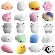 20PCS Fun Cute Animal Stress Relief Toy ,Yannerr Cute Mochi Squishy Cat Squeeze Healing Fun Kids Kawaii Toy Stress Reliever