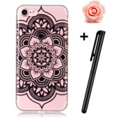 iPhone 8 12cm Case,iPhone 8 Silicone Gel Case,TOYYM Ultra Slim Rubber Soft TPU [Scratch Resistant] Case for iPhone 7,Clear Transparent Bumper Gel Back Protective Case Cover with Colourful Pattern Design Fit for Apple iPhone 8/iPhone 7-Black flower